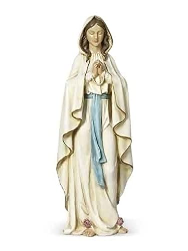 Our Lady Of Lourdes Cream With Soft Blue 9 x 24 Resin Stone Tabletop Figurine