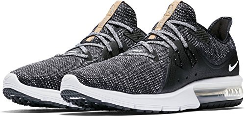 NIKE Air Max Sequent 3 Size 11 Mens Running Black/White-Dark Grey Shoes