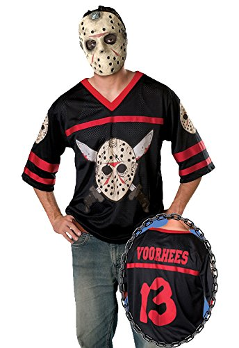 Friday The 13th Jason Hockey Mask (Friday The 13Th, Jason Hockey Jersey And Mask, Black, X-Large Costume)