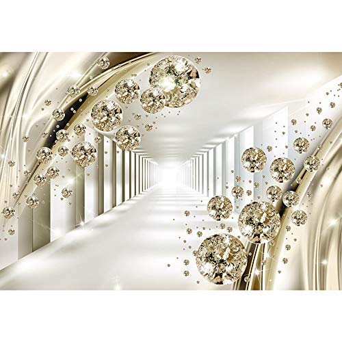 SUMGAR 3D Wall Murals Wall Art Gold Crystal Self Stick Wallpaper Space Decals for Bedroom,100x144 inches