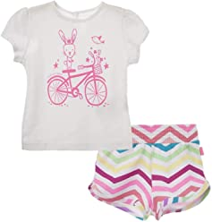 OFFCORSS Baby Girl Newborn Cotton Shirt + Colored Shorts Set | Ropa de Bebe Niña