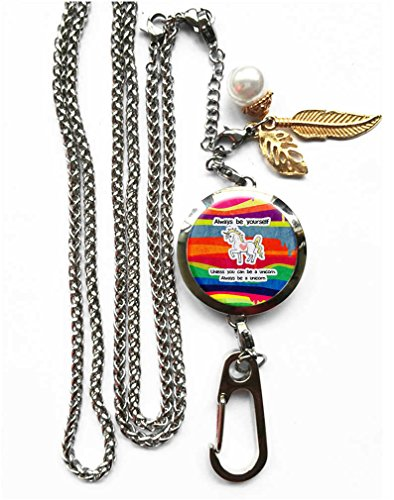 RhyNSky Always Be A Unicorn Aromatherapy Essential Oil Diffuser Locket Pendant ID Badge Holder Lanyard Necklace Bracelet Keychain with Chain and Pads, C1206 ()