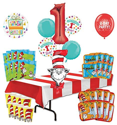 Mayflower Products Dr Seuss I Survived My Parents 1st Year Birthday Party Supplies 16 Guest Decoration Kit and Balloon Bouquet ()