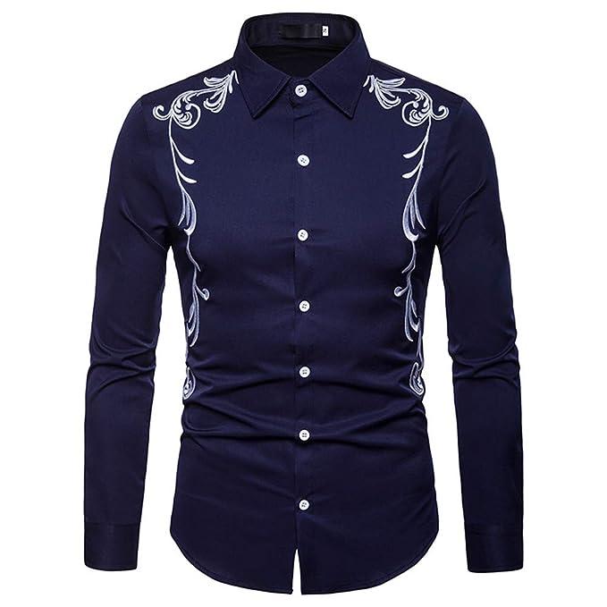 Yvelands Camisas de Liquidación de Hombres, Hombres de Otoño Invierno de Lujo Casual Bordado de Oro Camisa de Manga Larga Hombres.