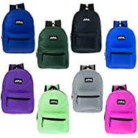 """17"""" Wholesale Kids Classic Backpack in 8 Solid Colors - Bulk Case of 24 Bookbags"""