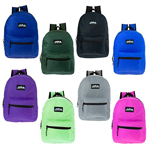 "Price comparison product image 17"" Wholesale Kids Classic Backpack in 8 Solid Colors - Bulk Case of 24 Bookbags"