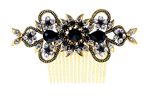Vogue Hair Accessories Antique Plated Exclusive Collection Wedding Party Fancy Bridal Comb Hair Clip (Black)