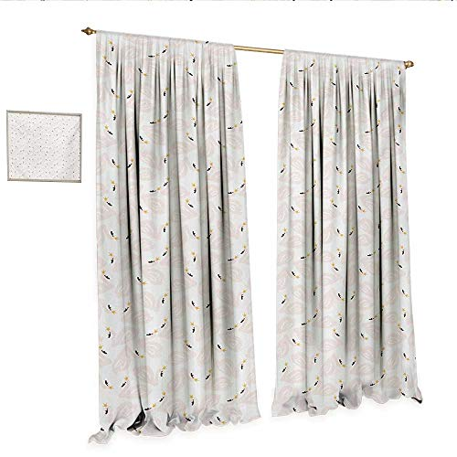 WinfreyDecor Swan Customized Curtains Childish Doodle Style Pastel Color Swan Princesses Girly Style Kids Nursery Thermal Insulating Blackout Curtain W108 x L96 Peach Marigold -
