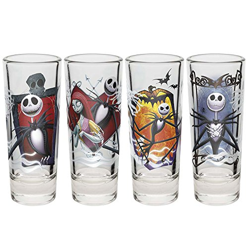 Zak Designs Nightmare Before Christmas Jack and Sally 2 Ounce Shot Glasses (Set of 4) -