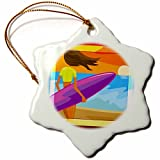 3dRose orn_98684_1 Pretty Surfer Girl Beach Art-Snowflake Ornament, Porcelain, 3-Inch