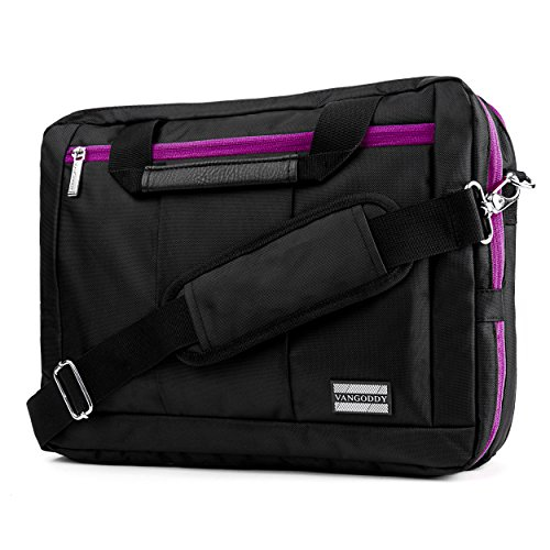 (VanGoddy El Prado 3-in-1 Messenger + Backpack + Briefcase Transformer for 15 to 16 inch Laptops and Tablets - Black/Purple)
