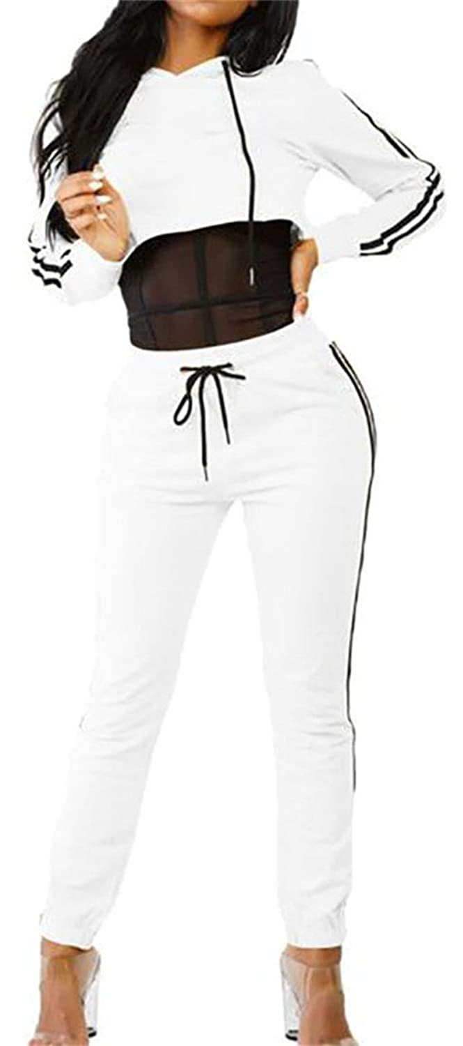 Cruiize Womens Basic Hooded Stripe Elastic Crop Jumpsuits Tracksuits