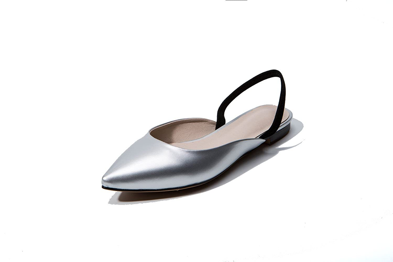 Unbekannt Damen Sandalen Flachbild Baotou Gummizug Rücktaste Hingewiesen Silber 33