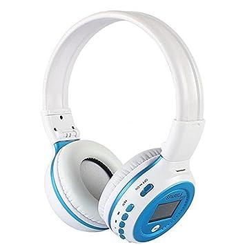 Plegable Bluetooth auriculares, Zealot B570 estéreo inalámbrica Bluetooth LED pantalla móvil auriculares con micrófono apoyo TF tarjeta WHITEBLUE: ...
