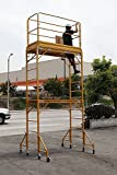 CBM Multipurpose Maxi Square Baker Style Scaffold Tower Package - 12ft., 1,000-Lb. Capacity with Hatch Deck Gaurd Rail and Double U Lock aka Metaltech