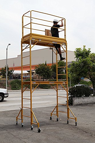 CBM Multipurpose Maxi Square Baker Style Scaffold Tower Package - 12ft., 1,000-Lb. Capacity with Hatch Deck Gaurd Rail and Double U Lock aka Metaltech by Scaffold Rolling Tower