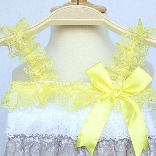 Tefamore Neugeborenes Kleinkind Baby Mädchen Spitze Bowknot Strap Striped Jumpsuit Kleidung Gelb