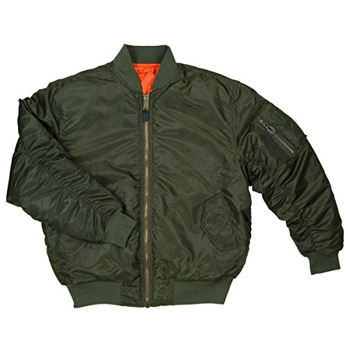 Men's MA-1 Reversible Flight Bomber Pilot Jacket-MA1-Olv-XL