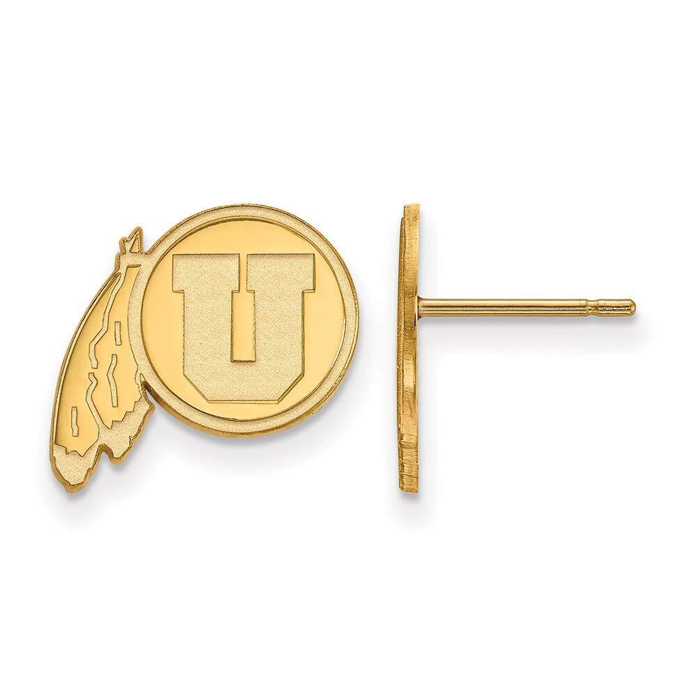 Lex /& Lu LogoArt 10k Yellow Gold University of Utah Small Post Earrings