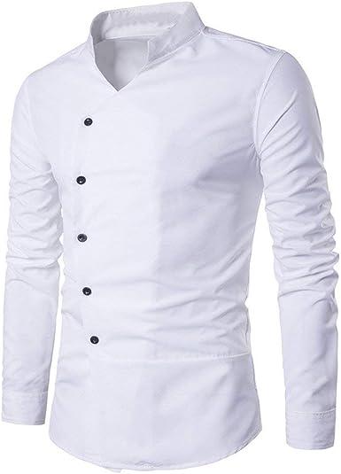 Personalidad De La Moda Slim Ropa Festiva Tops Casual Hombres Fit Camisa Blusa De Manga Larga Blouson Camisa Asimétrica Schraeg con Cuello Alto Manga Larga Escote Sudadera Business Manga Larga: Amazon.es: Ropa