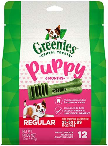 GREENIES Puppy 6+ Months Regular Natural Dog Dental Care Chews Oral Health Dog Treats, 12 oz. Pack (12 Treats)