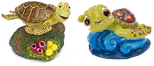 Penn Plax Finding Nemo Crush The Turtle and Squirt Aquarium Ornaments (Bundle)