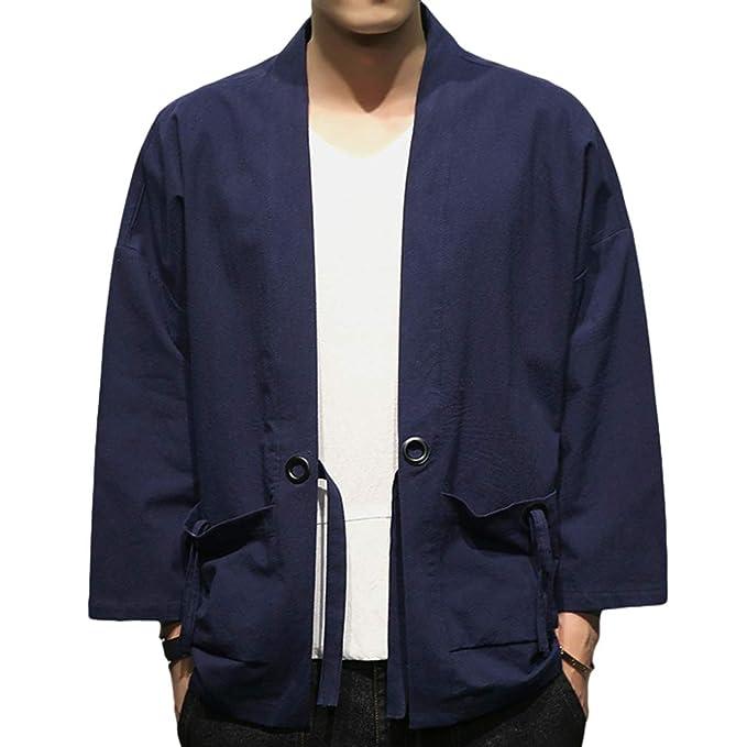 Kimono para Hombre Chaqueta de Verano Cardigan Jacket Casual ...