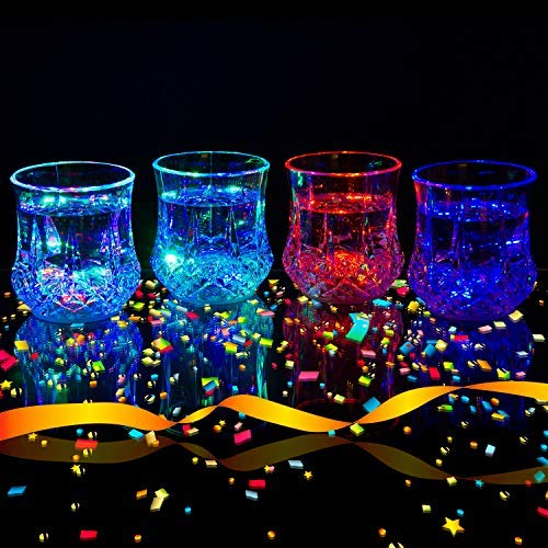 (Liquid Activated Multicolor LED Glasses ~ Fun Light Up Drinking Tumblers - 6 oz. - Set of)