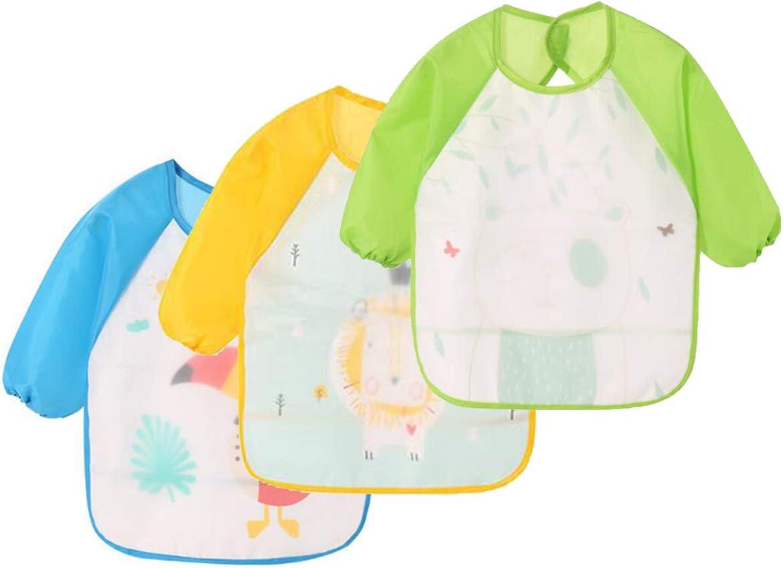 Multicolore 4, 3 Bavoirs NOVAGO Bavoir Tablier r/ésistant /à leau /à Manches Longues,Tablier de Repas,de Jeu,de Peinture pour Les Enfants de 6 /à 36 Mois