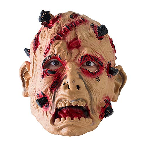 dxS8hhuo Halloween Mask Ghost Doll Face Big Mouth Tongue Disgusting Horror Dressing Up Funny Props Rubber Latex Red]()