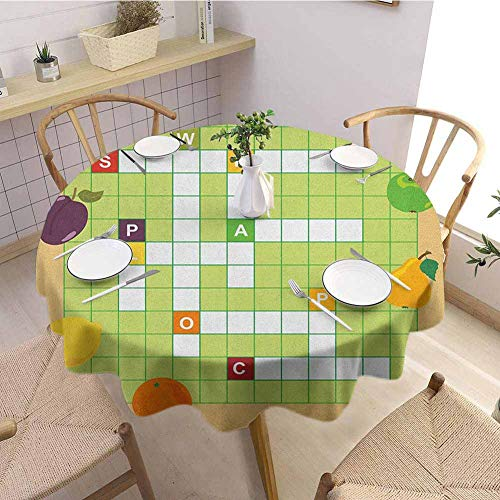HouseLookHome Word Search Puzzle Waterproof Tablecloth Vivid Graphic Summer Fruits with Educational Crossword Game for Kids Kitchen Tablecloth 63 Inch Round Multicolor (One On A One Dollar Bill Crossword)