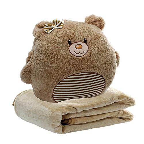 Alpacasso 3 In 1 Cute Cartoon Plush Stuffed Animal Toys Throw Pillow Blanket Set with Hand Warmer Design.(Bear) - Blanket Bear Travel