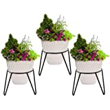 RISE Round Iron Matka/Planter Pot Stand (7x7x7-inch, Black) - Set of 3 pcs