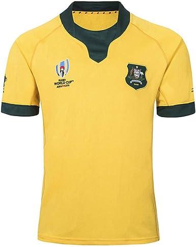 Copa del Mundo de Rugby 2019 camisas de Jersey de fútbol casa Fuera ropa deportiva australiana/ocasional de los hombres de manga corta camiseta de distancia a Australia: Amazon.es: Ropa y accesorios