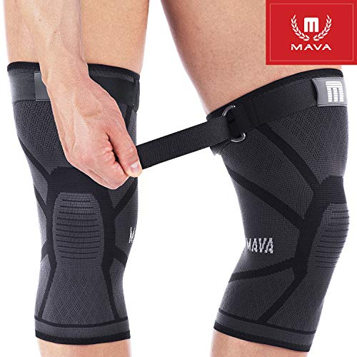 Mava Knee Brace – Knee Support with Adjustable Strap -Does NOT ROLL Down- Compression Knee Sleeves for Men & Women -Weightlifting, Running, Workout, ACL – Pain Relief – Check Sizing Chart – Pair