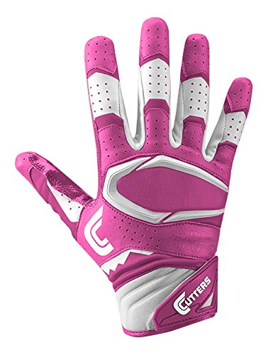 Cutters Gloves S451 Rev Pro 2.0 Receiver Safety Cornerback Gloves With C-Tack Grip, PINK, Adult L (Gloves Wide Football Receiver)