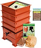 Worm Factory DS4TT 4-Tray Worm Composting Bin + Bonus ''What Can Red Wigglers Eat?'' Infographic Refrigerator Magnet - Vermicomposting Container System - Live Worm Farm Starter Kit for Kids & Adults