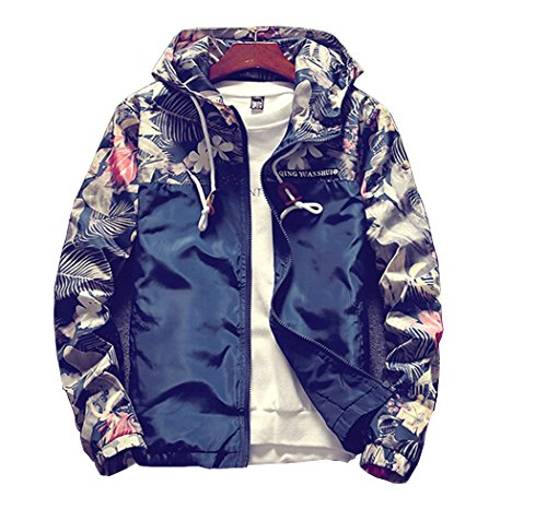 Momtuesdays2 Floral Bomber Jacket Men Hip Hop Slim Fit Flowers