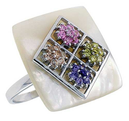 Pearl Tourmaline Ring (Mother of Pearl Square Ring in Solid Sterling Silver, Accented with Tiny Citrine, Pink Tourmaline, Amethyst & Orange Sapphire CZ's, 15/16 (24mm) wide, size 10)