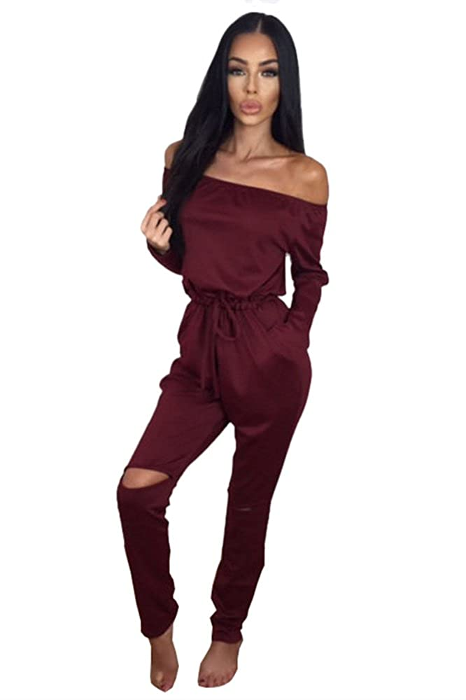 a49dfc80c9d9 Miss Floral® Womens Off Shoulder Long Sleeve Jumpsuit 5 Colour Size 6-20   Amazon.co.uk  Clothing