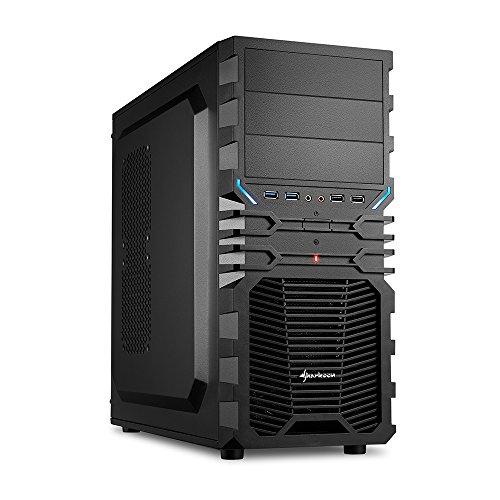 """Sharkoon VG4-V - Caja de ordenador gaming (semitorre ATX, incluye 2 ventiladores, lacado interior, 3 bahías de 5,25""""), negro"""