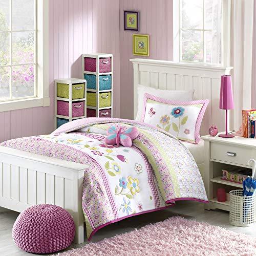 Mizone Kids Spring Bloom 3 Piece Comforter Set, Multicolor, Twin ()