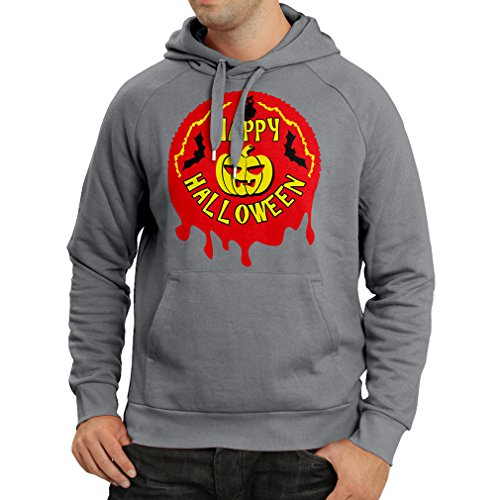 Hoodie Happy Halloween! - Party Clothes - Pumpkins, Owls, Bats (Medium Graphite Multi Color) -