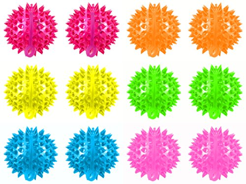 Set of 12 Light Up LED 'Super Spiked Ball' Children's Kid's Toy Yoyo Ball (Colors May Vary)