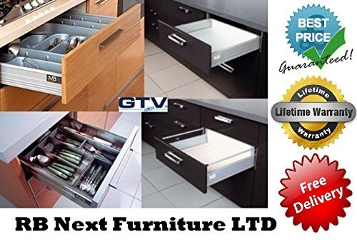 Soft Close Kitchen Drawer Runners System L   450mm Modern Box (1 Pair X Low