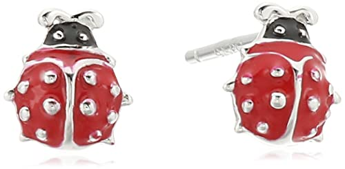 f0d63d440 Amazon.com: Girls' Petite Sterling Silver Red Epoxy Ladybug Stud ...