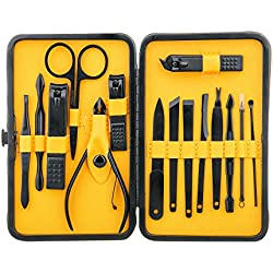 Euryno Professional Stainless Steel Black Polishing Nail Clipper Travel & Grooming Kit Nail Tools Manicure & Pedicure Set of 15 pcs with Stylish Case(Yellow)
