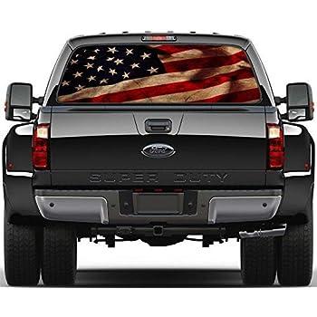 American Flag Prairie Gold Stone Rear Window Graphic Decal  Truck