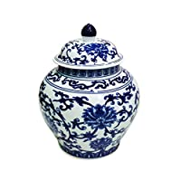 Large Blue and White Porcelain Helmet-shaped Temple Display Jar