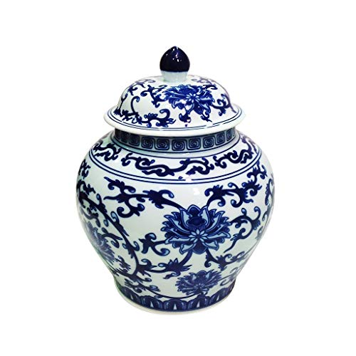 Ancient Chinese Style Blue and White Porcelain Helmet-shaped Temple Jar (Large size lotus pattern)